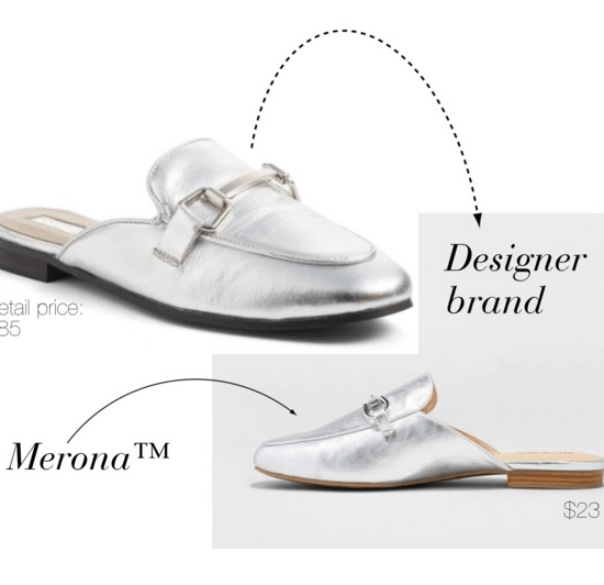 Designer shoe dupes at Target: Merona version of Gucci Princetown loafer in silver