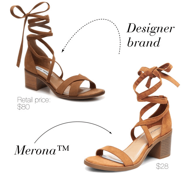 Designer shoe dupes at Target: Merona version of Steve Madden suede lace-up sandals