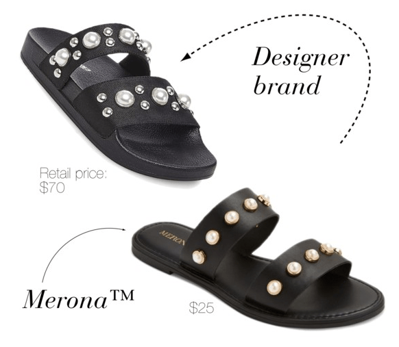 Designer shoe dupes at Target: Merona version of Steve Madden's pearl embellished sandals
