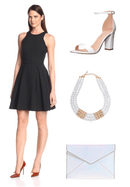 Outfit inspired by It's a Wonderful Life opening credits: black dress, white heels, necklace, clutch