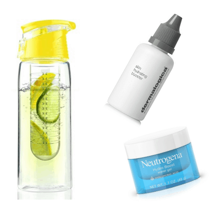Moisturizing products: Water bottle, Neutrogena gel cream, dermalogica skin perfecting booster