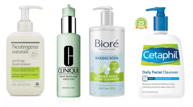 Moisturizing facial cleansers from Neutrogena, Clinique, Biore', Cetaphil