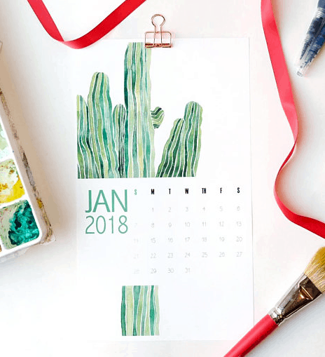 Best 2018 planners and agendas: Nature illustration calendar