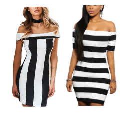 A comparison of two striped dresses - horizontal and vertical