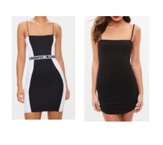 A dress with contrasting side panels, compared to a plain dress