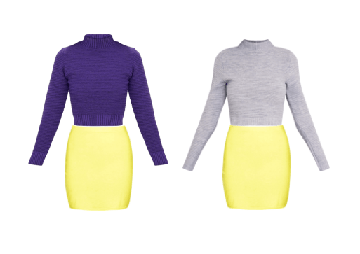 A yellow skirt, contrasted with purple and yellow sweaters