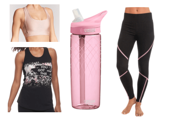 A workout outfit featuring the color pink