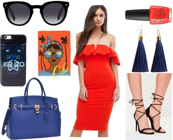 Cuban fashion: Outfit idea inspired by Cuba with off the shoulder red ruffle dress, navy blue tassel earrings, black lace up heels, navy tote bag, bright orange nail polish, Kenzo tiger phone case