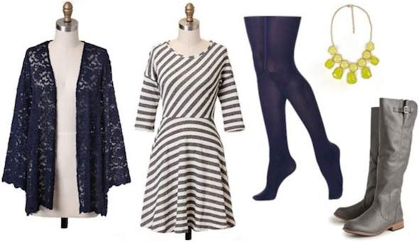 Super Bowl outfit for a Seattle Seahawks fan: Striped dress, blue tights, cardigan, boots, necklace