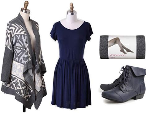 Super Bowl outfit for a Seattle Seahawks fan: Navy dress, waterfall cardigan, ankle booties, tights