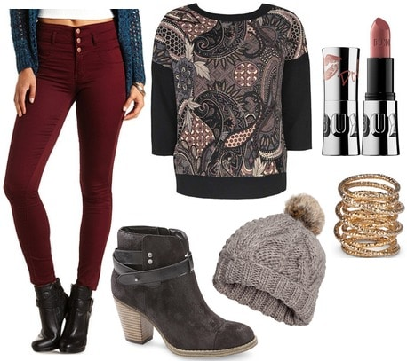 Sears ankle boots, printed sweatshirt, colored jeans