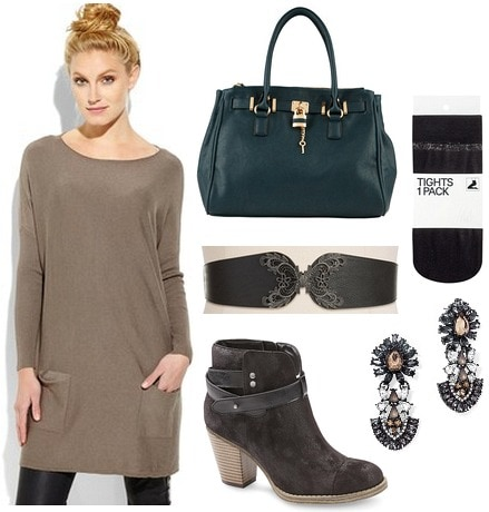 Sears ankle boots, sweater dress, belt, tights