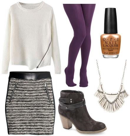 Sears ankle boots, textured skirt, sweater
