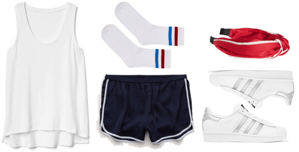 "Fashion Inspired by Music Videos: ""Bad Liar,"" by Selena Gomez--Outfit #3 featuring white tank top with curved, high-low hem; white tube socks with red and blue stripes, navy blue track shorts with white piping, red knotted hair band with white piping and black ends, Adidas Originals Superstar sneakers in white with metallic silver details"
