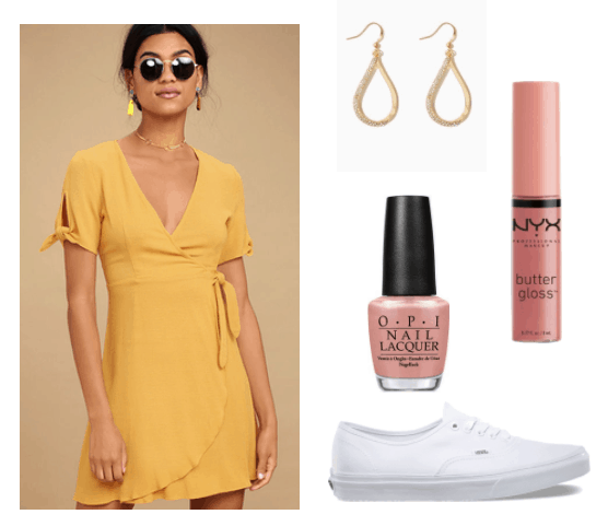 selena gomez fetish inspired: mustard yellow wrap dress, gold earrings, pinkish nude lipgloss, nude nail polish and white vans