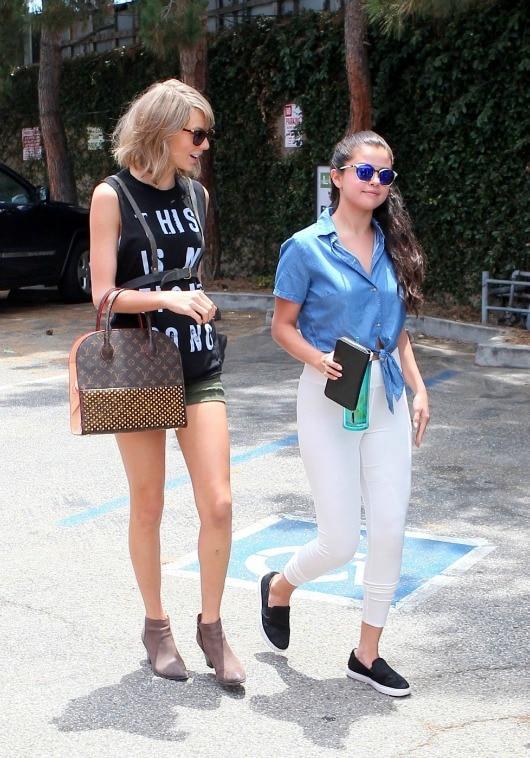 Selena Gomez tie front top and white leggings