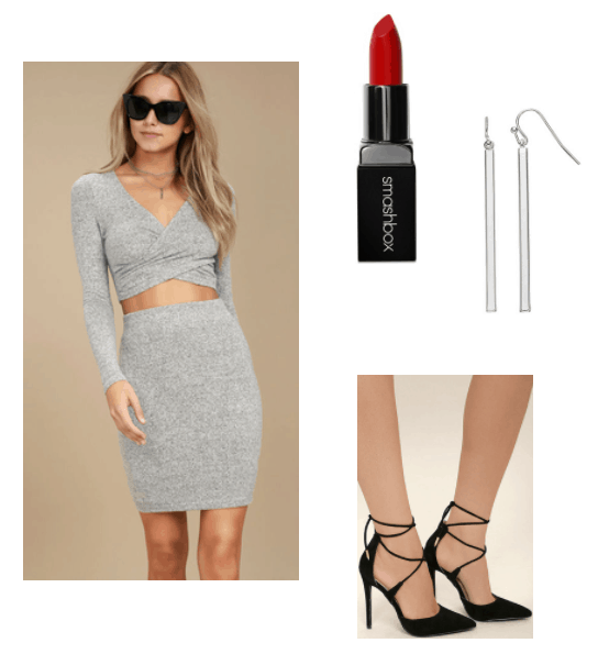selena gomez wolves inspired look, two piece grey dress, red lipstick, silver grey earrings, black strappy heels