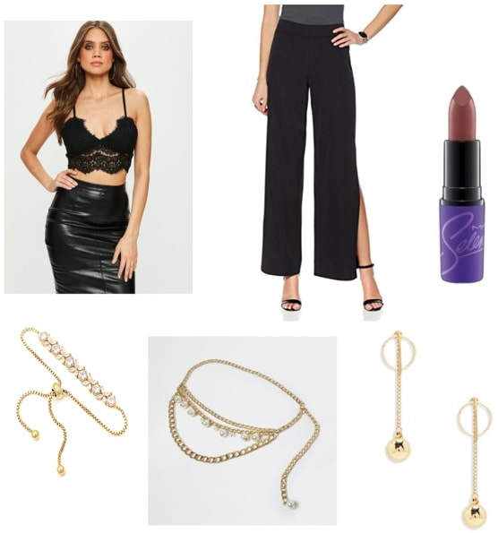 Selana outfit: Outfit inspired by Selena Quintanilla with black pants, black lace crop top, Selena by MAC lipstick, gold jewlery