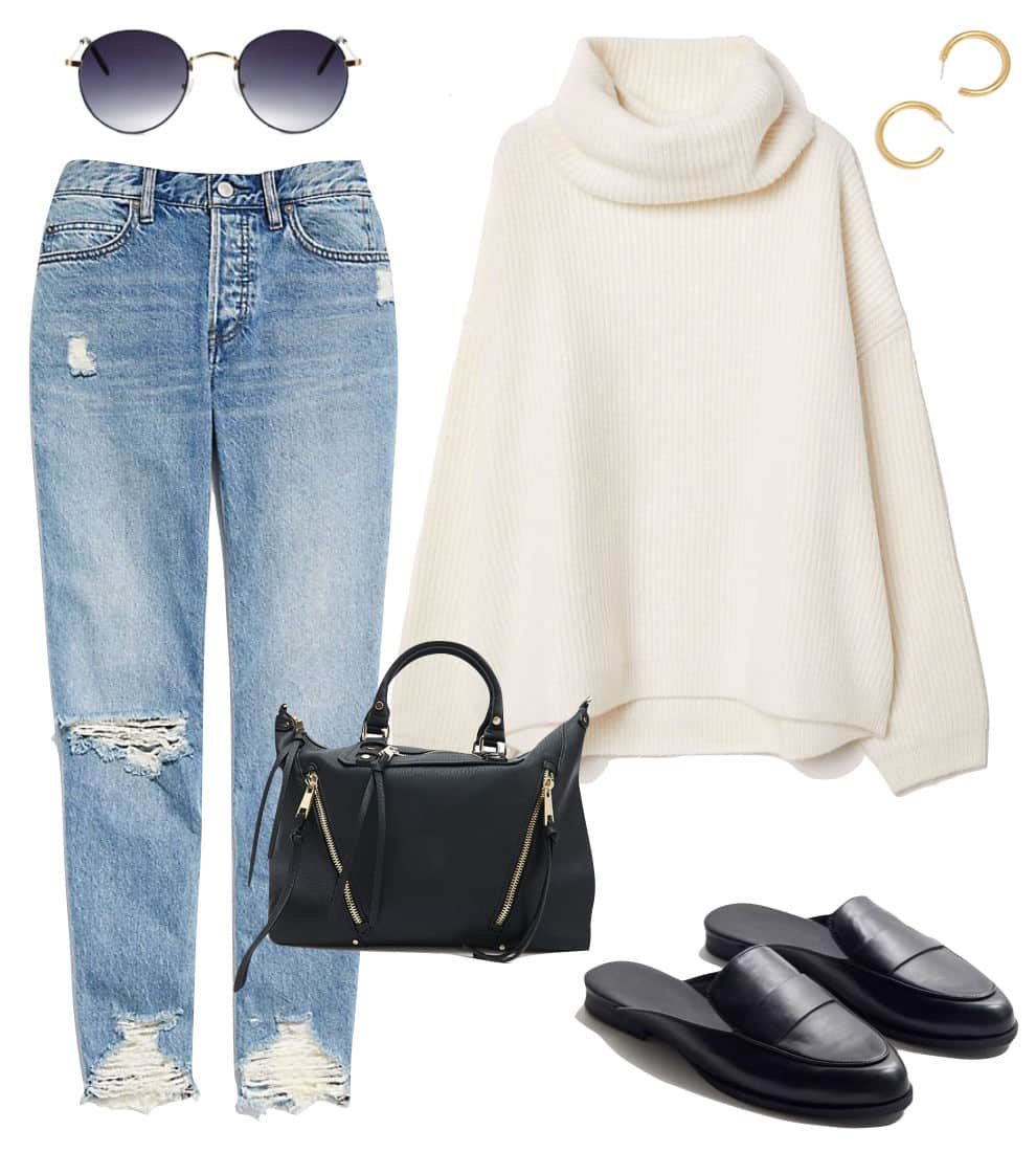 Selena Gomez Outfit: chewed hem jeans, oversized cream ribbed turtleneck sweater, gold hoop earrings, round metal sunglasses, black top-handle bag, and black loafer mules