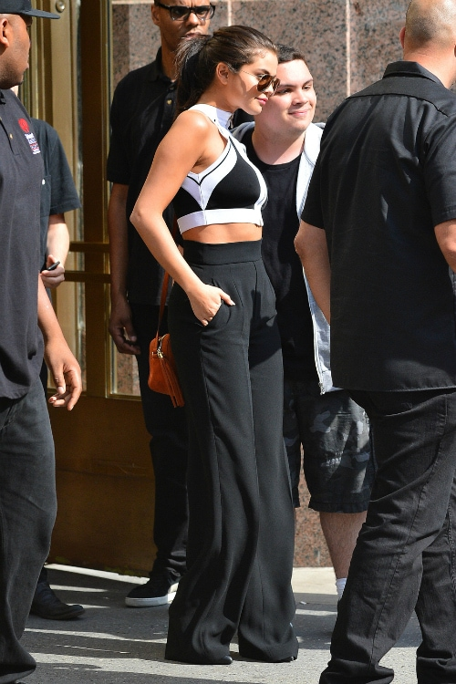 Selena Gomez black-and-white crop top and palazzo pants
