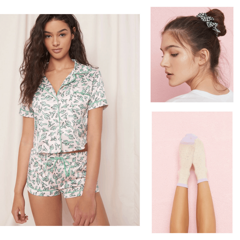 Self care day outfit: Cactus pajamas, gingham scrunchie, birthday cake socks