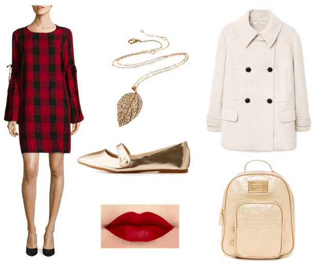 Plaid dress, white coat, pendant necklace, gold flats, gold backpack, red lips