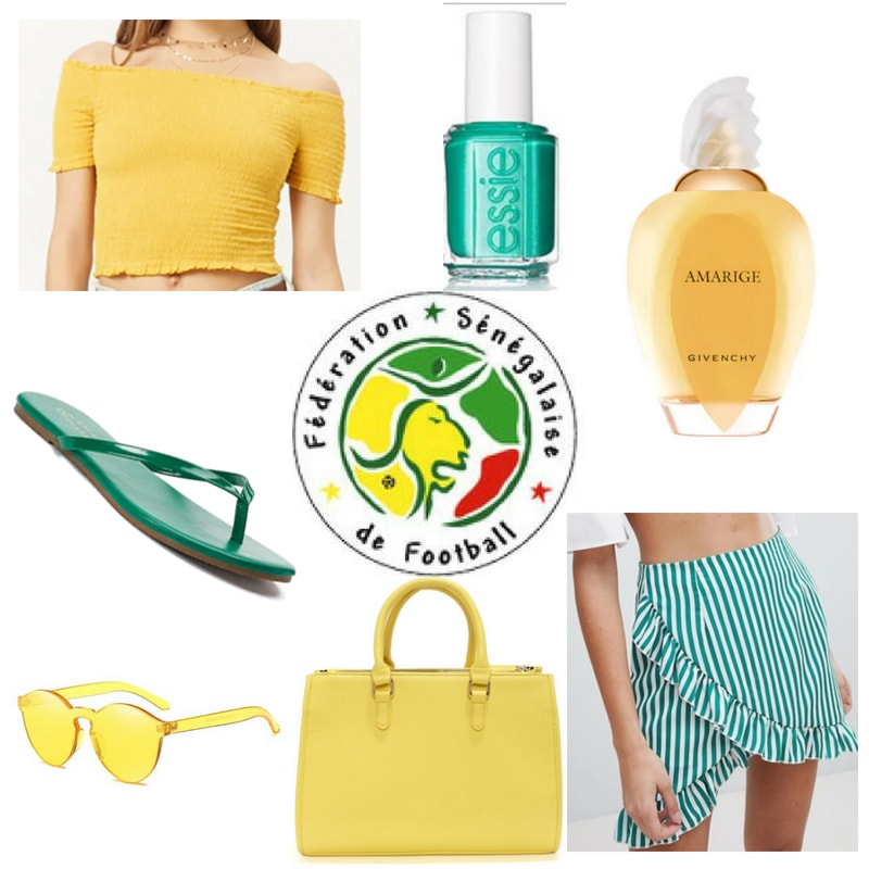 World Cup 2018 outfit inspired by Senegal: Yellow crop top, striped ruffle skirt, green flip flops, yellow purse, green nail polish, yellow sunglasses