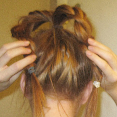 Braided bun tutorial step 2: Create two separate braids