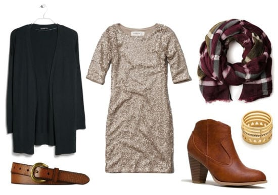 Sequin dress, green cardigan, ankle boots