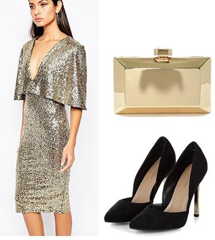 Ellie Goulding inspired outfit: Sequin dress, black heels, gold clutch