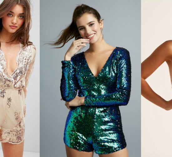 Sequin romper holiday trend (from left to right): a flowy nude mesh romper with blouson sleeves and silver sequin detailing from ASOS, a long sleeve blue-green v-neck romper from Charlotte Russe, and a spaghetti strap metallic gold romper from Forever 21.
