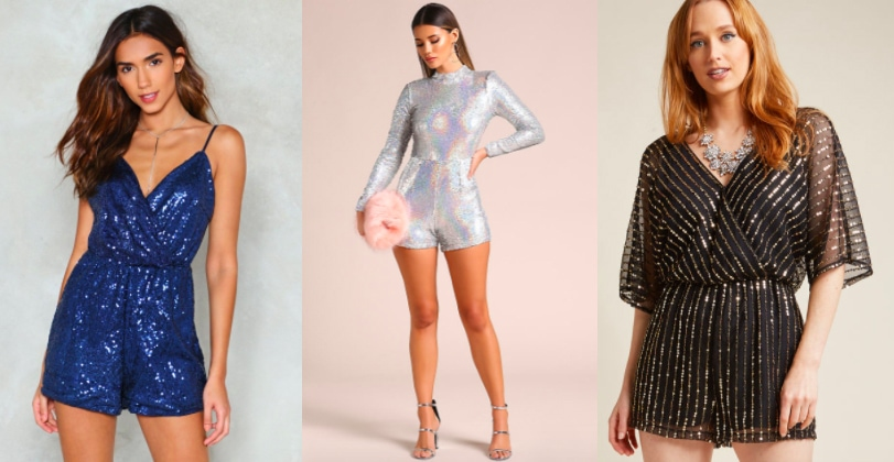 Sequin romper holiday trend (from left to right): aqua blue cami romper from Nasty Gal, silver holographic long sleeve romper with a mock turtleneck from Love Culture, and a flowy black BB Dakota mesh romper with gold detailing from Modcloth.