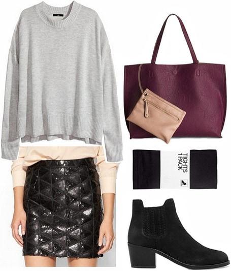 Sequin skirt daytime look