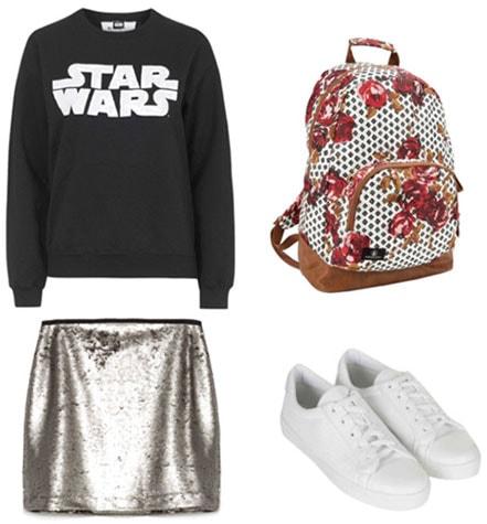 Sequin skirt outfit - star wars sweatshirt, floral backpack, sneakers