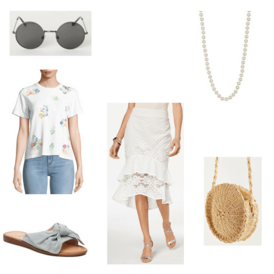 Outfit with sequin flower tee, ruffled lace skirt, round sunglasses, denim slides, pearl necklace, and straw crossbody