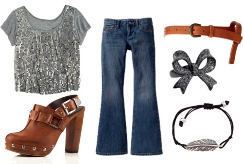 sequined top outfit