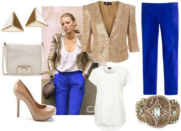 Serena outfit 4 with gold blazer cobalt capris white tee nude pumps ivory cross body and spike studs