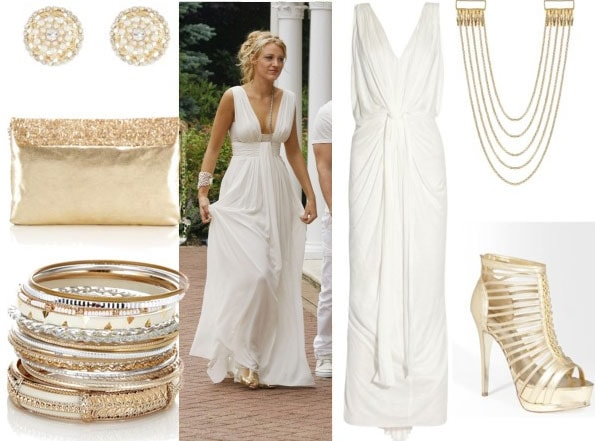 Serena look 3 with white maxi goddess dress gold hair chain gold gladiator sandals gold bangles gold pearl earrings and sequin clutch