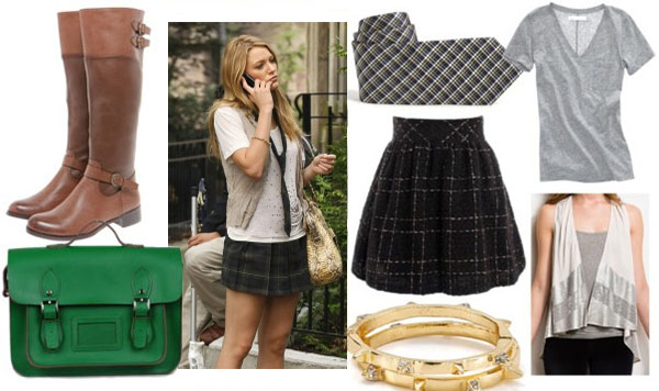 Serena outfit 2 with plaid skirt gray v neck plaid tie sequin vest gold bangles green satchel and brown riding boots