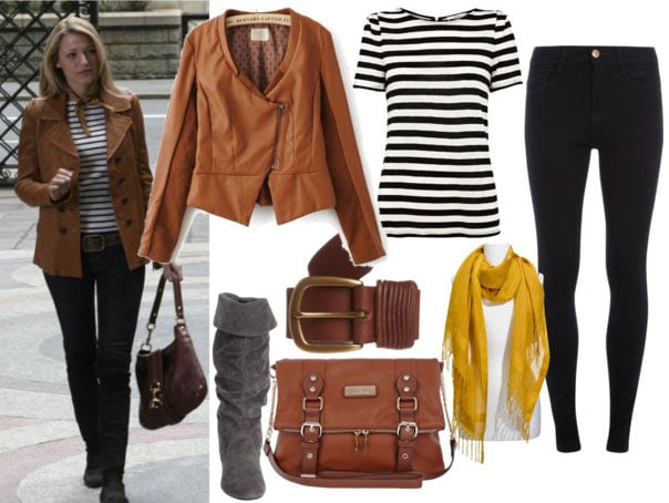 Serena look 1 with brown leather jacket, striped tee, brown satchel, brown belt, gray slouchy boots, black skinnies, and yellow scarf