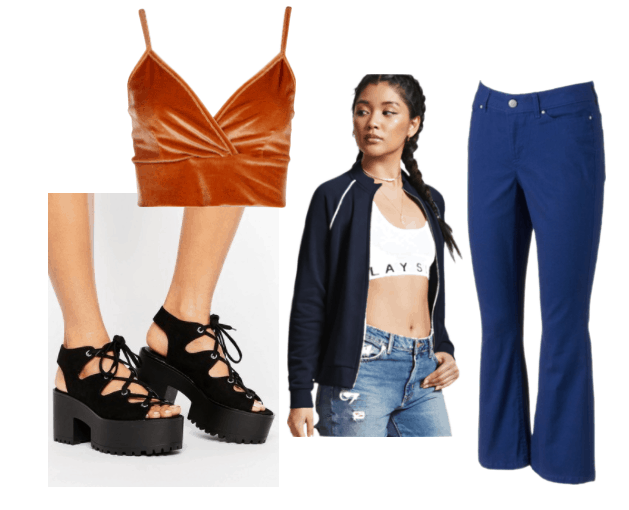 90s outfit inspiration by Crash Bandicoot from the Crash Bandicoot video game series: velvet orange bralette, flared blue jeans, chunky black platform heels, navy track jacket