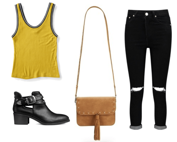 Outfit inspired by Mickey from the tv show Love: distressed black denim, cogan crossbody bag, yellow vintage tank, buckled black booties