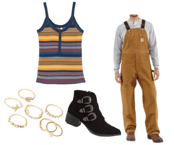 Outfit inspired by Mickey from the tv show Love: mustard yellow overalls, black buckled booties, striped vintage tank, stacked ring set