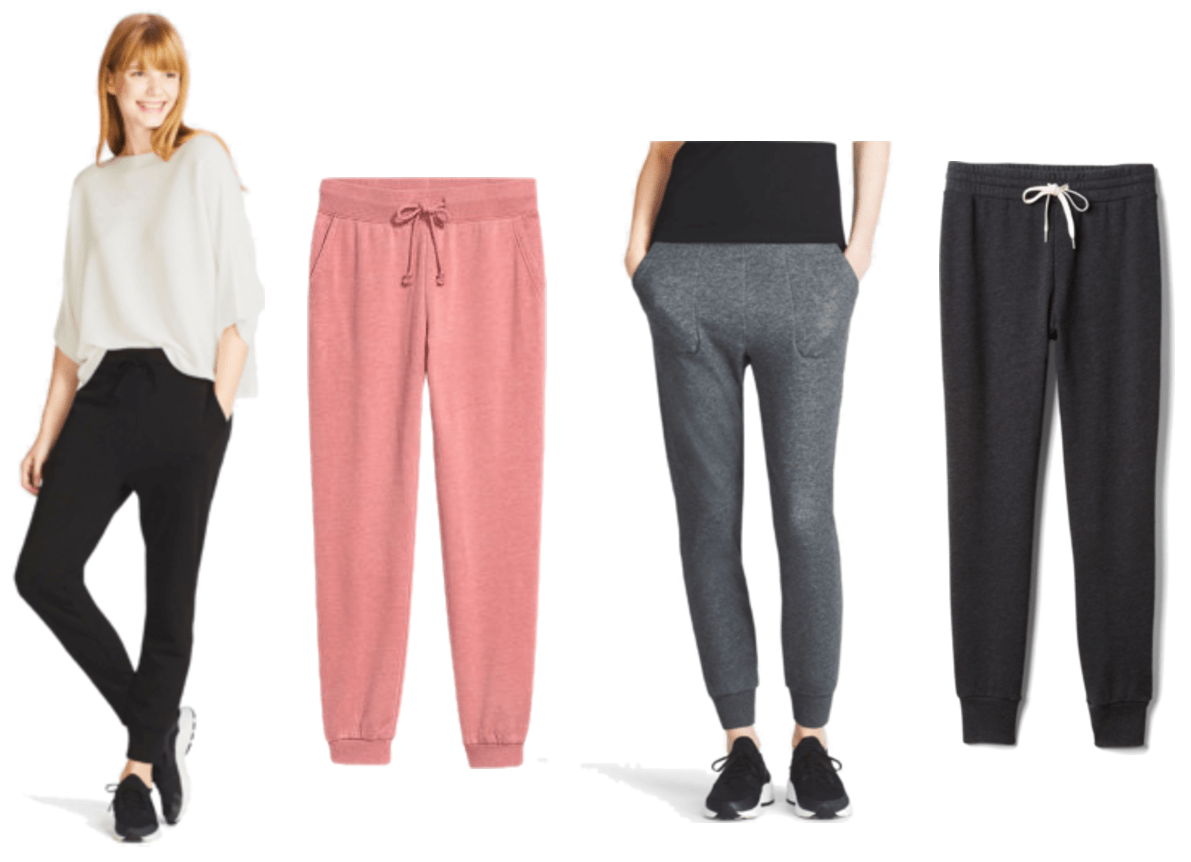 Black joggers with drawstrings, bright dusty coral-pink joggers with drawstrings, dark gray joggers with drawstrings (not shown), washed-black joggers with cream-colored drawstrings