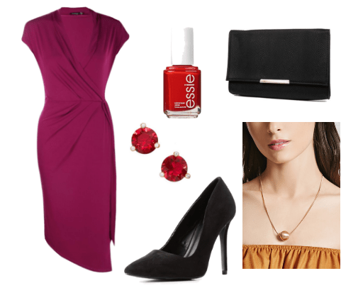 Outfit inspired by Rebecca Bunch on Crazy Ex Girlfriend tv show: Essie red nail polish, foldover black clutch, gold pendant necklace, ruby red earrings, wrap dress, black pumps