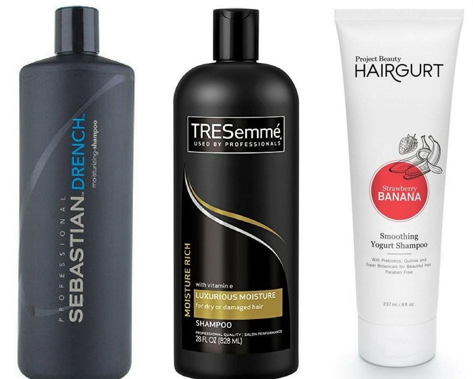 Best shampoos for curly hair: Sebastian Drench shampoo, Tresemme Luxurious Moisture shampoo, Project Beauty Hairgurt shampoo
