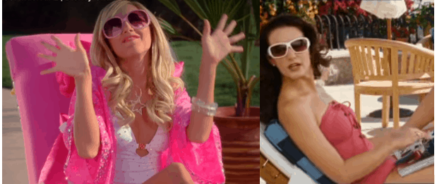 Sharpay Evans in a blingy white swimsuit and pink cover up and Charlotte York in a lace up swimsuit.