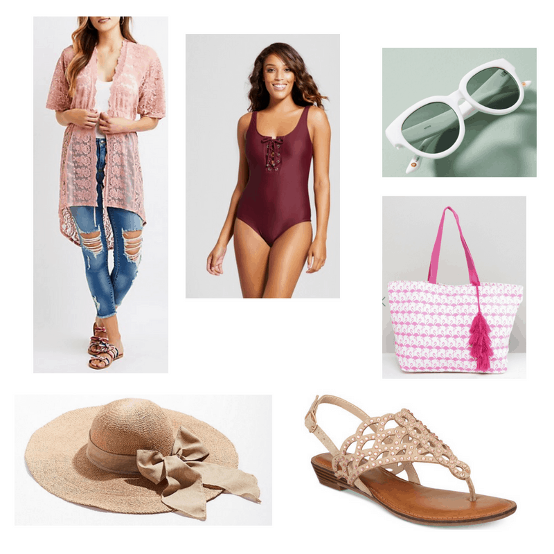 Sharpay and Charlotte Inspired Look with pink kimono, lace-up swimsuit, white sunglasses, embellished sandals, sunhat, and flamingo tote bag