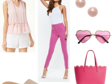 Outfit inspired by Sharpay Evans x Charlotte York from Sex and the City: Ruffle top, pink jeans, heart sunglasses, pink pearl earrings, hot pink scalloped tote bag, simple pink slides