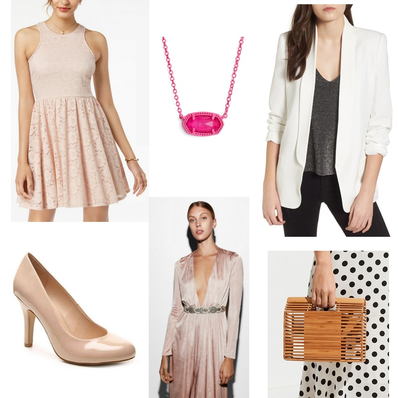 Sharpay Evans x Charlotte York outfit with lace mini dress, cream colored boyfriend blazer, hot pink necklace, sparkle belt, neutral heels